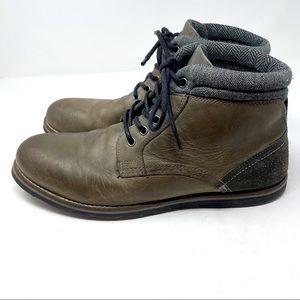 Crevo Chukka Boots Plain Toe Leather Brown Gray 12